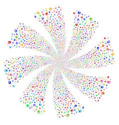 Intellect bulb fireworks swirl flower vector