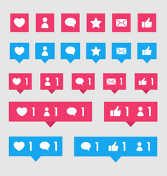 internet social media icons set - likes mail vector image