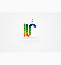 Ir i r rainbow colored alphabet letter logo vector