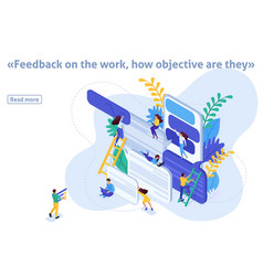 Isometric article banner feedback vector