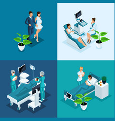 Isometric maternity clinic 4 mini concepts vector