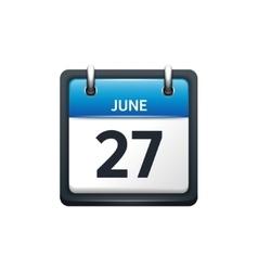 June 27 Calendar icon flat vector