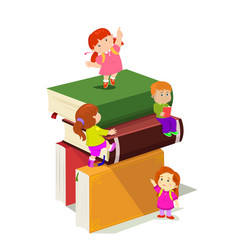 kids climbing in stack of books vector image