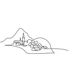 Landscape with village on hill vector