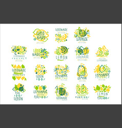 Lemonade 100 percent pure lemon set for label vector