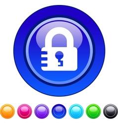Lock circle button vector image
