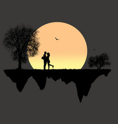 Lovers in front a full moon vector