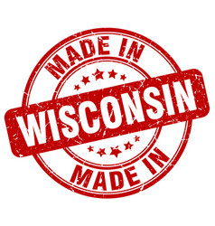 made in wisconsin red grunge round stamp vector image