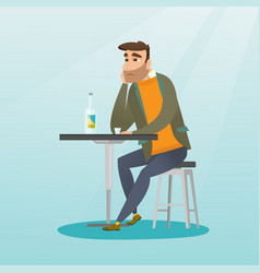 Man drinking a cocktail in the bar vector