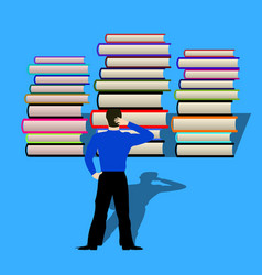 man thought how to read books in front of him vector image