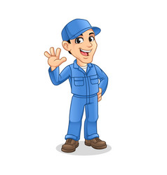 mechanic man with waving hand gesture sign vector image