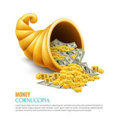 Money cornucopia realistic design concept vector