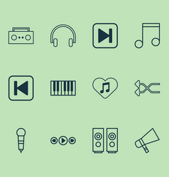 music icons set with favorite tune shuffle song vector image