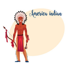 Native american indian man in feather headdress vector