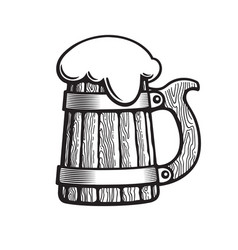 Old wooden beer mug with foam hand drawn vector