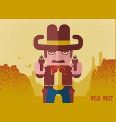 owboy aiming guns american western man vector image