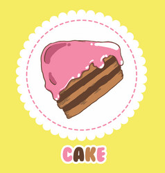 Piece chocolate cake with pink icing cake icon vector