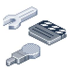 Pixel retro style isometric icons vector