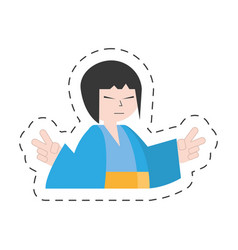 portrait japanese woman with kimono vector image