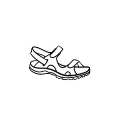 Realistic child sandal drawn outline doodle icon vector