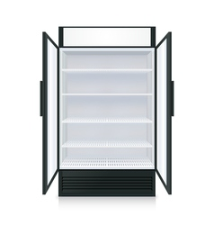 Realistic Empty Commercial Fridge vector