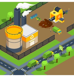 Recycling Plant Isometric Poster vector