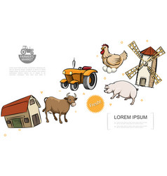 Retro farm colorful template vector