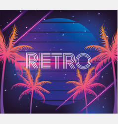 Retro neon palms and geometric graphic vector