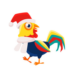 rooster cartoon character wearing hat and scarf vector image