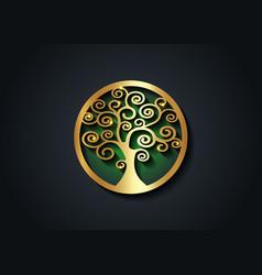 Sacred tree gold round tree life icon ecology vector