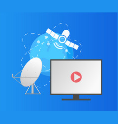 satellite and globe dish and monitor play button vector image