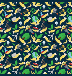 Seamless pattern flat of elements for design palm vector