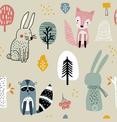 Semless woodland pattern with raccoonfoxbunny vector