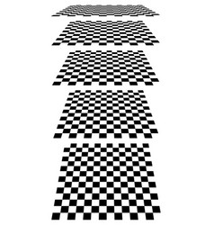 Set of chess checkered boards in perspective vector