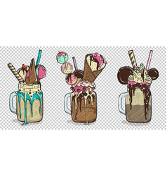 Set of delicious desserts with some toppings vector