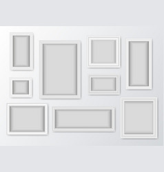 set of white realistic frames with shadow vector image