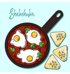 Shakshuka is israeli cuisine color vector