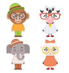 sheep cow monkey ape elephant cute animal boy girl vector image