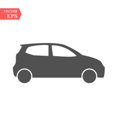 simple black car icon flat hatchback symbol vector image