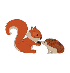 Squirrel and porcupine with nut cartoon vector