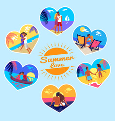 summer love memory photos of couples on vacation vector image