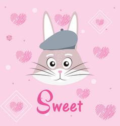 Sweet rabbit cartoon vector