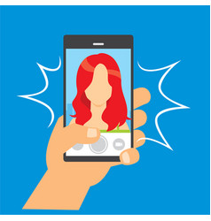 Take pictures with cellphone vector