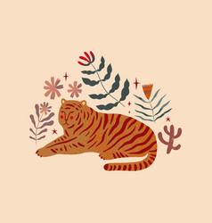 terracotta tiger abstraction minimalist design vector image