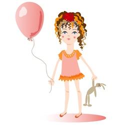 The girl with a balloon vector