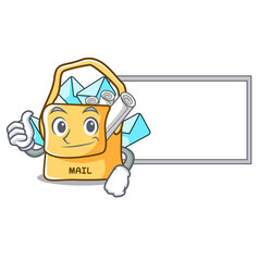 thumbs up with board bag sack fill in cartoon mail vector image