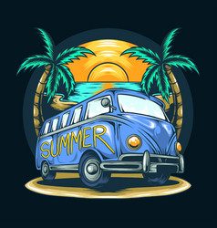 van in summer with a view beach and vector image