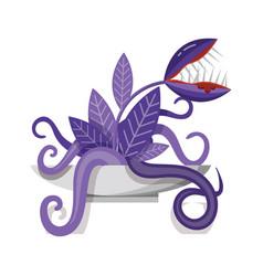 Venus flytrap carnivorous plant monster flat icon vector