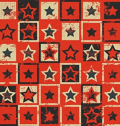 Vintage star seamless pattern with grunge effect vector