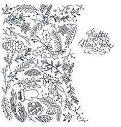 winter festive floral sketch template vector image